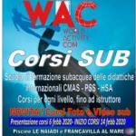 Info WAC 04-2020: inizio corsi il 21; progetto Paolo De Vizzi
